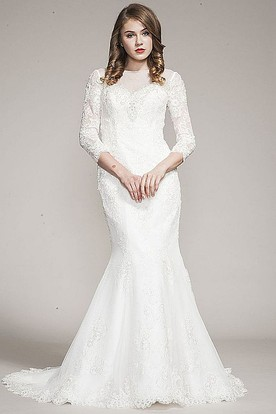Trumpet High Neck Long Long-Sleeve Lace Wedding Dress With Appliques And Illusion