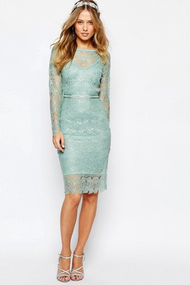 Knee-Length Scoop Neck Long Sleeve Beaded Lace Bridesmaid Dress