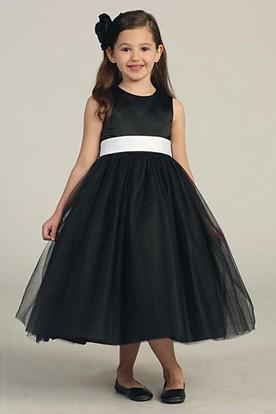Tea-Length Bowed Sleeveless Tulle&Satin Flower Girl Dress
