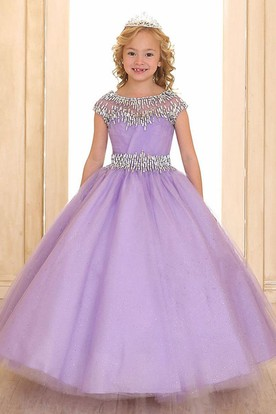 Floor-Length Illusion Tiered Pleated Tulle&Organza Flower Girl Dress With Ribbon