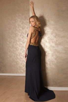 Scoop Maxi Beaded Chiffon Prom Dress With Sweep Train And Straps