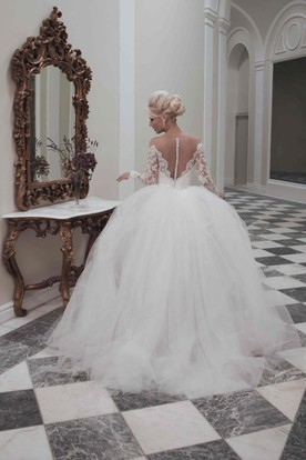 Pencil Tea-Length Long-Sleeve Off-The-Shoulder Lace&Tulle Wedding Dress With Appliques And Illusion