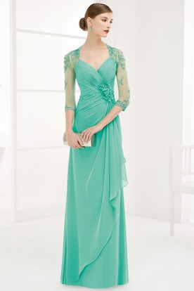 Sheath Ruched Floor-Length V-Neck Half-Sleeve Chiffon Prom Dress With Flower And Draping