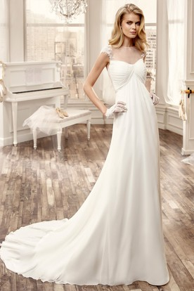 Cap-Sleeve Chiffon Long Wedding Dress With Pleated Bust And Brush Train