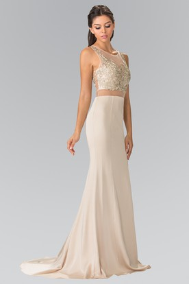 Sheath Maxi V-Neck Sleeveless Jersey Illusion Dress With Beading