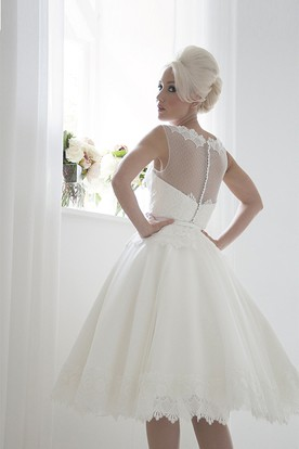 Tea-Length A-Line High Neck Ribboned Sleeveless Lace Wedding Dress
