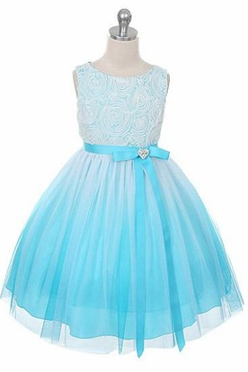 Tea-Length Broach Tiered Flower Girl Dress