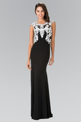 Sheath Floor-Length Cap-Sleeve Jersey Illusion Dress With Appliques