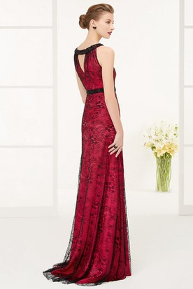 High Neck Sleeveless Sheath Lace Long Prom Dress With Front And Back Keyholes