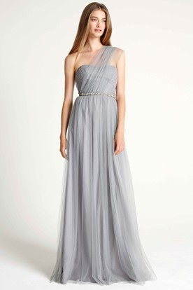 Jeweled One-Shoulder Sleeveless Tulle Bridesmaid Dress With Ruching