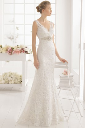 Long V-Neck Jeweled Lace Wedding Dress With V Back