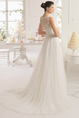 Sheath Jewel-Neck Floral Floor-Length Sleeveless Tulle&Lace Wedding Dress With Pleats