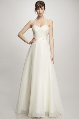 Sheath Sweetheart Maxi Organza Wedding Dress With Criss Cross And V Back