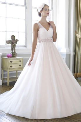 V-Neck Maxi Floral Tulle Wedding Dress With Court Train And V Back