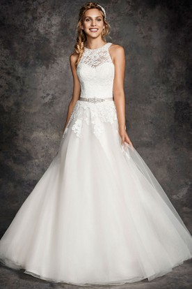 A-Line Appliqued Sleeveless Long Scoop Lace&Tulle Wedding Dress With Waist Jewellery And Illusion Back