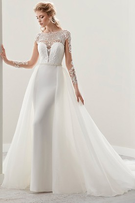 Illusion Long-Sleeve Jewel-Neck Gown With Detachable Train And Pearl Belt