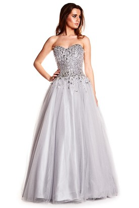 A-Line Beaded Sweetheart Sleeveless Floor-Length Sequins&Tulle Prom Dress