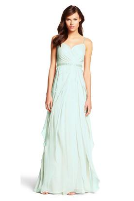 A-Line Criss-Cross Sleeveless Spaghetti Chiffon Bridesmaid Dress With Draping