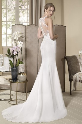 Sheath High-Neck Long Sleeveless Appliqued Wedding Dress With Beading