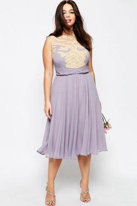 A-Line Pleated Tea-Length Jewel-Neck Sleeveless Chiffon Bridesmaid Dress