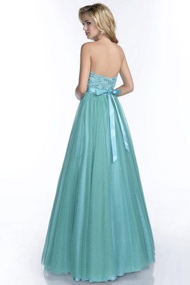 A-Line Tulle Long Prom Dress With Lace Bodice And Beaded Waist