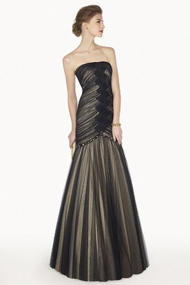 Strapless Trumpet Tulle Long Prom Dress With Criss Cross Bodice