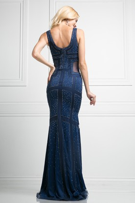 Sheath Long V-Neck Sleeveless Low-V Back Dress With Beading