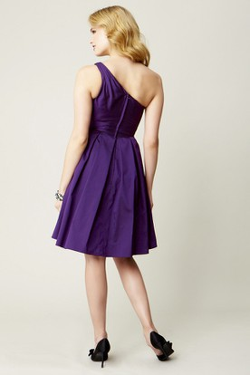 Short One-Shoulder Sleeveless Satin Chiffon Bridesmaid Dress