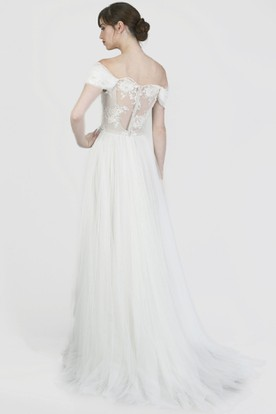 Off-The-Shoulder Floor-Length Appliqued Chiffon Wedding Dress