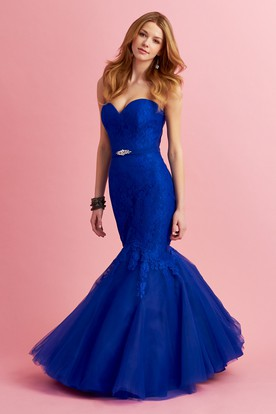 Mermaid Maxi Sweetheart Sleeveless Lace Tulle Dress With Appliques