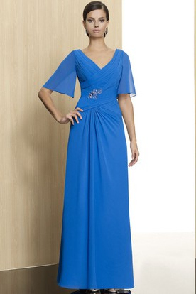 Bell Sleeve V-Neck Criss-Cross Chiffon Formal Dress With Beading