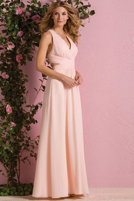 V-Neck Sleeveless A-Line Gown With Crisscrossed Straps Back