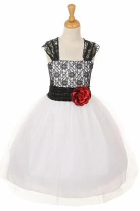 Tea-Length Floral Criss-Cross Tulle&Lace Flower Girl Dress With Straps