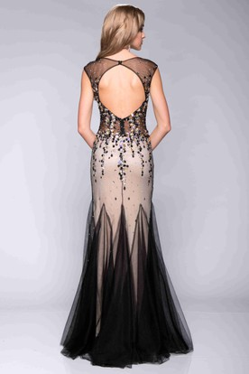 Cap Sleeve V-Neck Sequined Prom Dress Featuring Special Skirt