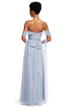 A-Line Strapped Maxi Sleeveless Ruched Tulle Bridesmaid Dress With Sash