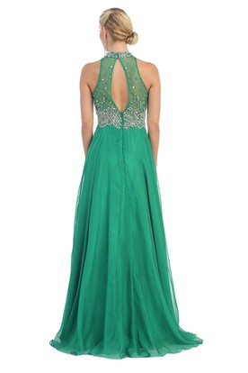 A-Line Long Jewel-Neck Sleeveless Chiffon Illusion Dress With Beading And Pleats