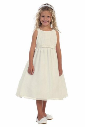 Tea-Length Straps Bowed Tiered Chiffon Flower Girl Dress With Ribbon