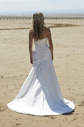 Sweetheart Long Ruched Taffeta Wedding Dress With Beading And V Back