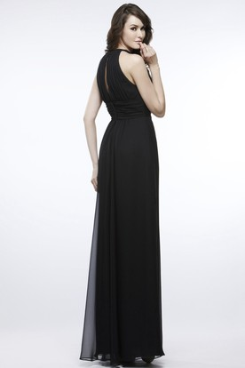 V-Neck Sleeveless Ruched Chiffon Bridesmaid Dress