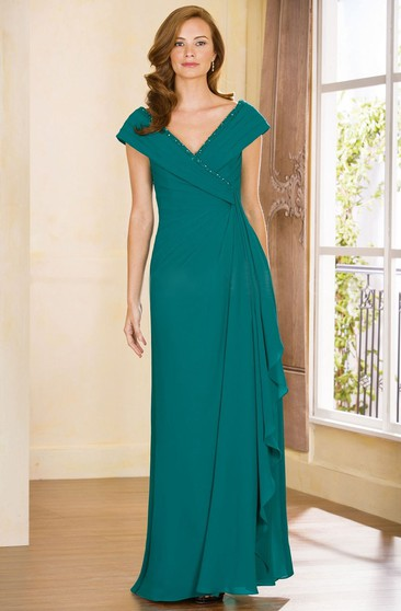 Cap Sleeved A Line Mother Of The Bride Dress With
