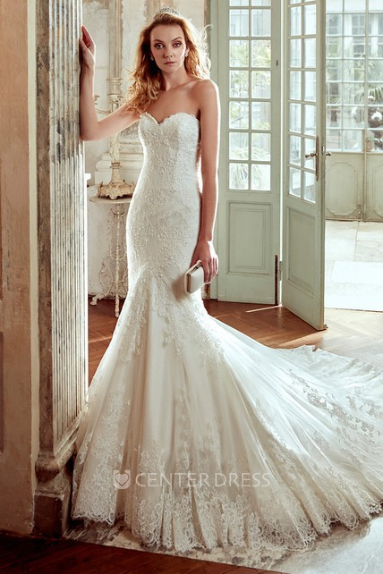 Sweetheart Mermaid Wedding Dress with Lace Appliques and Court Train - UCenter Dress