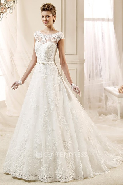 127b9812cf0 Cap sleeve A-line Lace Wedding Gown with Appliques and Jewel Neckline - UCenter  Dress