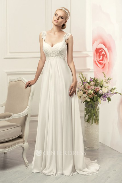 17dc303cc0 Sheath Long Straps Sleeveless Empire Corset-Back Chiffon Dress With Waist  Jewellery And Pleats - UCenter Dress