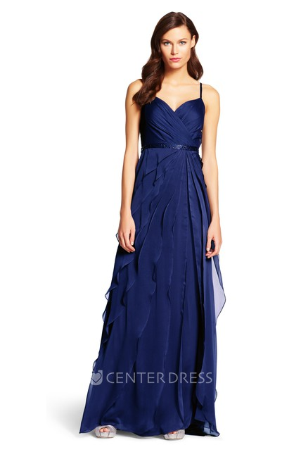 c587c9acb707f A-Line Ruched Spaghetti Sleeveless Floor-Length Chiffon Bridesmaid Dress  With Waist Jewellery And Draping - UCenter Dress