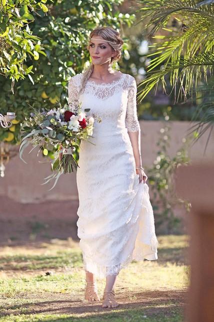 0808431f3da Mermaid Illusion Sleeve Satin Lace Button Zipper Keyhole Wedding Dress -  UCenter Dress