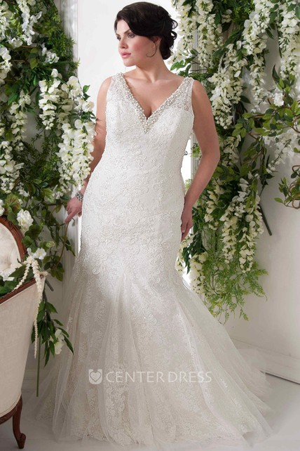 2a4cac13238 Floor-Length V-Neck Sleeveless Appliqued Lace Plus Size Wedding Dress With  Beading - UCenter Dress