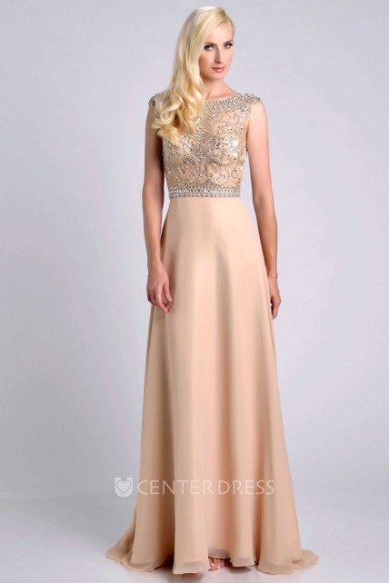 f44fc54047594 Jeweled Bodice Cap Sleeve Chiffon A-Line Prom Dress With Bateau Neck -  UCenter Dress