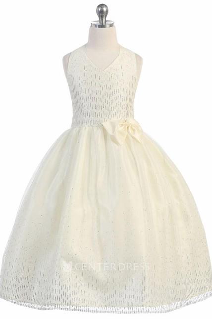 3889fa4bd1 Split Tea-Length Split-Front Bowed Tulle Taffeta Flower Girl Dress With  Ribbon - UCenter Dress