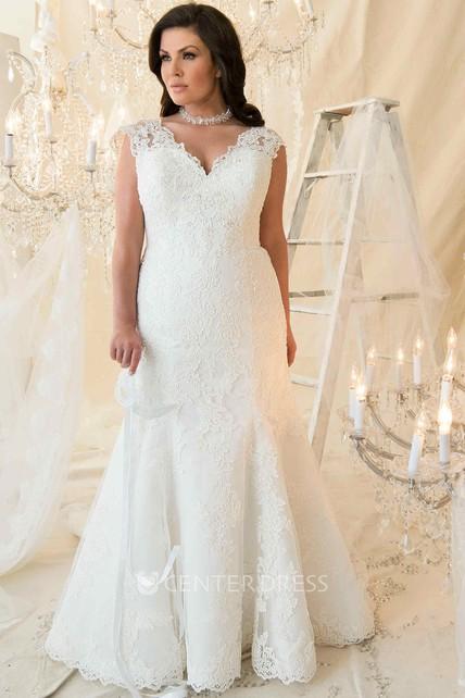 Mermaid Cap Sleeve V Neck Lace Plus Size Wedding Dress With Lace Up