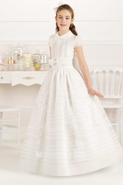 80772e360 A-Line Bowed Short-Sleeve Floor-Length Organza Flower Girl Dress With Pleats  - UCenter Dress